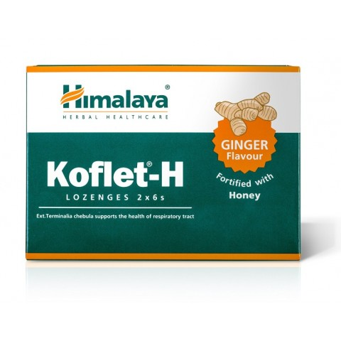 Imbierų skonio pastilės gerklei su medumi Koflet-H, Himalaya, 12vnt.
